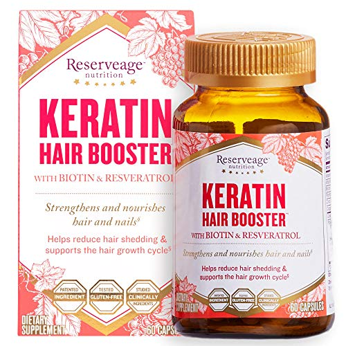 Reserveage, Keratin Hair Booster, Hair and Nails Supplement, Supports Healthy Thickness and Shine with Biotin, 60 capsules (30 servings)