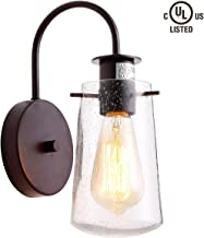 HOMIFORCE Vintage Style 1-Light Industrial sconces Wall Lighting with seeded Glass Shade Bronze Finished Simplicity Industrial Retro Edison Fixture cl20170351-n(crommelin Bronze)