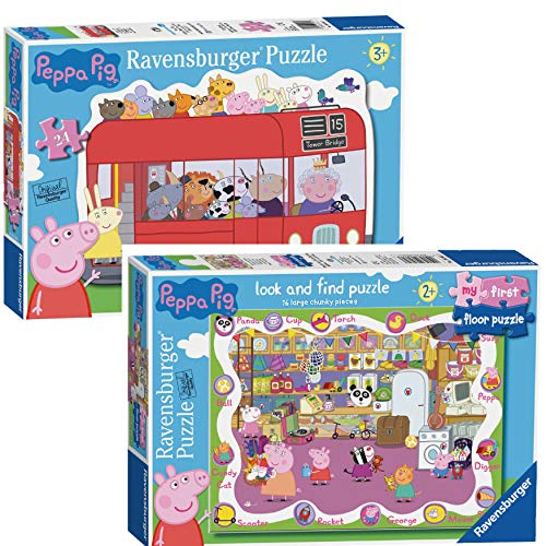 Peppa Pig Jigsaw Puzzles | Piano Puzzle 16 Pezzo Look And Trovare e 24 Pezzi London Bus (Floor 16pc/ Bus 24 Piece)