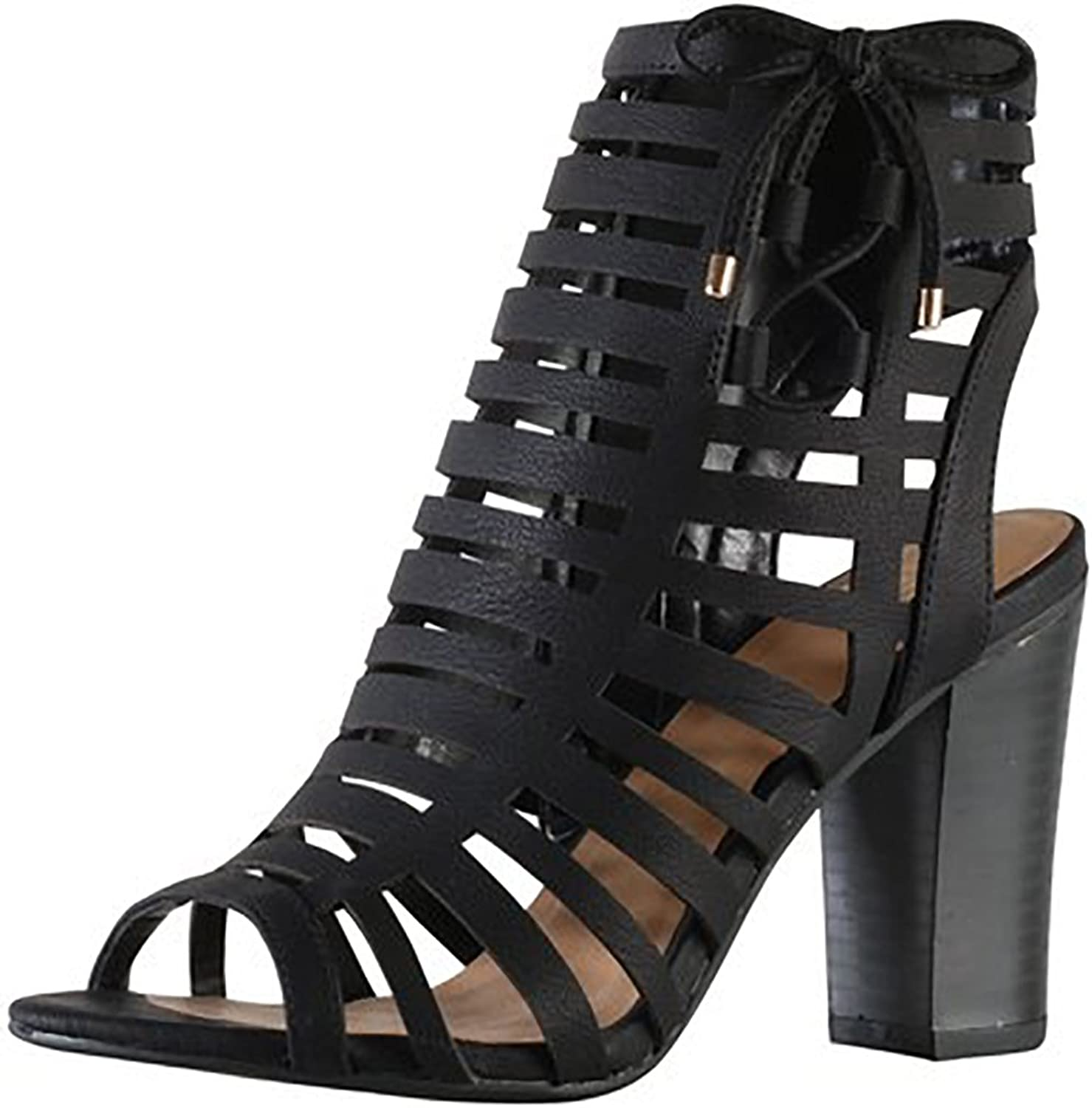 Delicious By Soda Women's Server Geometric Cut Out Caged Peep Toe Heeled Sandal