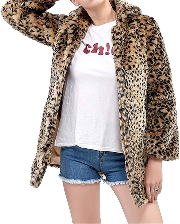 BOBOYU Women Longline Sexy Winter Warm Leopard Print Faux Fur Trench Coat Jacket Overcoat