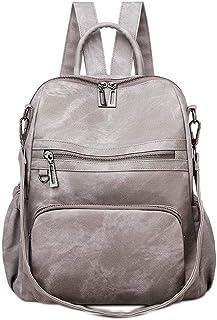 Neuleben Frauen Damen Rucksack Tasche Umhängetasche Daypack PU Leder Handtasche Schultertasche mit Diebstahlsicher Rucksacktasche Damentasche für Alltag Schule Uni Büro Reise Grau
