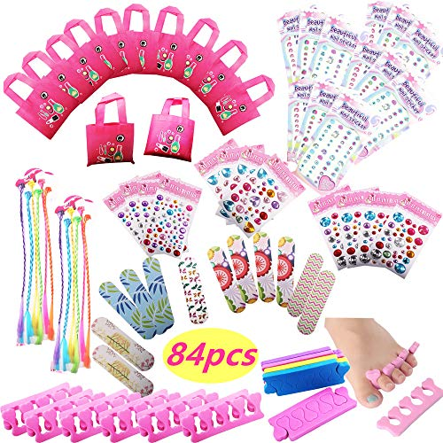 Spa Party Favors for Girls Supplies- (12 Tote Bags, 12 Emery Boards,12 Hair...