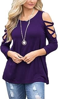 BLUETIME Women's Casual Cold Shoulder Tops 3/4 Sleeve Criss Cross Tunic Blouse Shirt