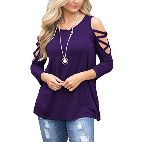 18c7f57e8a523 BLUETIME Women s Casual Cold Shoulder Tops 3 4 Sleeve Criss Cross Tunic Blouse  Shirt