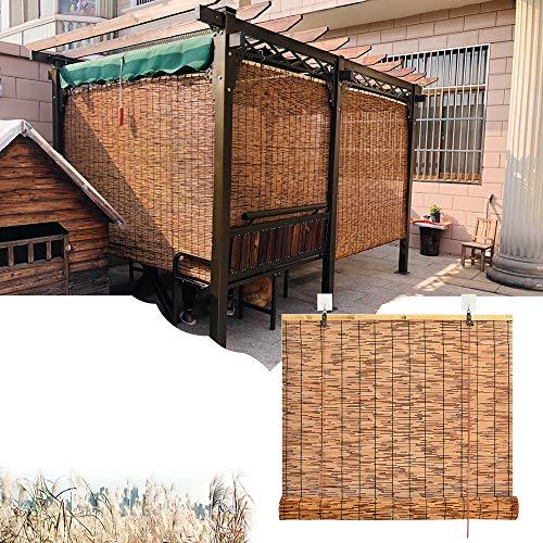 LMDX Rollo Bambus - Bambusvorhang,Sonnenschutz,Natur Sichtschutz,Gelten Für Innen, Außen, Garten, Fenster, Raffrollo,Ohne Bohren,Holzrollo Für Fenster