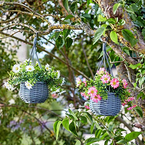 Garden Mile Artificial Meadow Flower Hanging Baskets, 2 pack Bouquet Bundle, Beautiful Floral and...