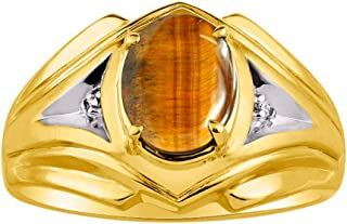 RYLOS Mens Ring with Oval Shape Gemstone & Genuine Sparkling Diamonds in 14K Yellow Gold Plated Silver .925 With Satin Fin...