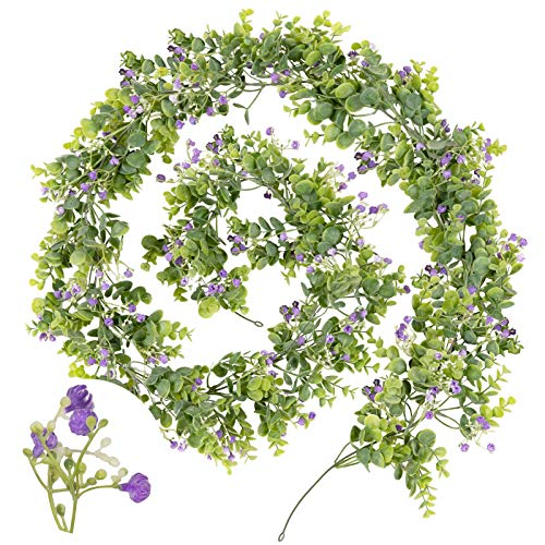 Whaline Artificial Eucalyptus Garland 6.6Ft Fake Eucalyptus Leaves Vine with Purple Flower Hanging Greenery Decoration for Wedding Birthday Indoor Outdoor Home Kitchen Fireplace