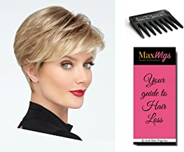 Go For It Wig Color SS23/61 SHADED CREAM - Raquel Welch Wigs Monofilament Crown Lace Front Women's Boy Cut Memory Cap 3 Bundle with Comb, MaxWigs Hair Loss Booklet