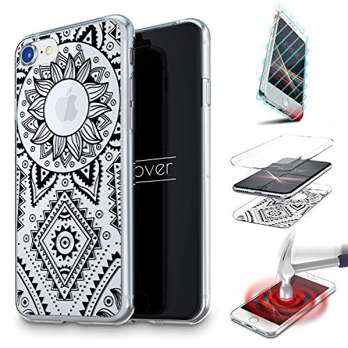 Urcover Cover 360 Mandala per Apple iPhone 6 6s | Custodia Integrale Trasparente in Silicone TPU | Fronte Retro Morbida Ultra Slim in Nero