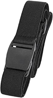 Men's No Show Elastic Stretch Belt Invisible Casual Web Belt Quick Release Flat Plastic Buckle