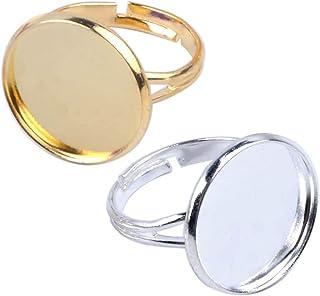 Jdesun 20 قطعة خاتم الفراغات مع قاعدة خاتم قابلة للتعديل 16 مم، صينية خاتم معدنية دائرية للأصابع، مطلي بالذهب والفضة
