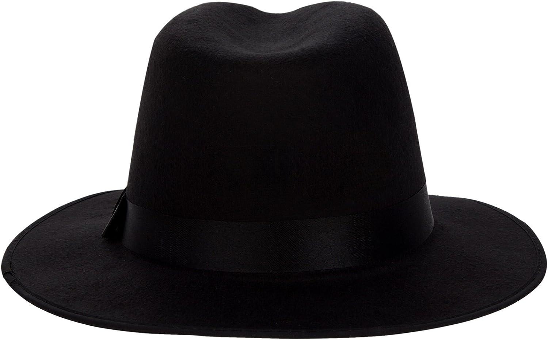 Aerusi Unisex Vintage Wool Felt Wide Brim Outback Fedora Safari Hat