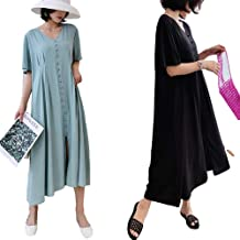 2020 Verano Coreano Suelto Vestido de Gran tamaño por Encima de la Rodilla de Longitud Media Casual Camiseta de Manga Corta Falda Marea Femenina