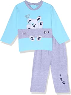 Lumex Stitched Dog Two-Tone Round Neck Top with Pants Pajamas Set For Boys 6 - 9 Months