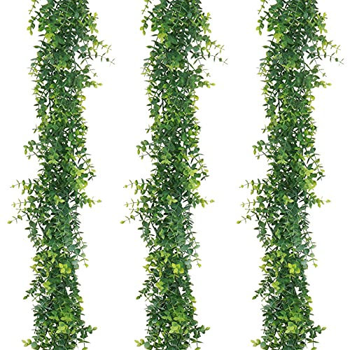 Artflower 3 Pack Artificial Eucalyptus Garland, 6Ft/pcs Faux Eucalyptus Vines Greenery Garland Fake Hanging Eucalyptus Leaves Plant Wedding Backdrop Arch Wall Table Party Festival Decor, Grey Green