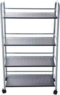 GXOK Multi-Function 4-Shelf Storage Rack for Kitchen, Microwave Oven Holder - Kitchenware,Wheeled Trolley Storage Rack,Kitchen Supplies Storage Rack [Ship from USA Directly]