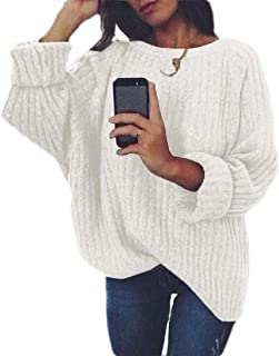 Women's Crewneck Solid Sweater Long Sleeve Loose Knit Pullover Jumper