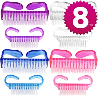 8 Pcs Nail Brush For Kids And Adult, Teenitor 2 Sizes Under Nail And Top Nail Hand Scrubbing Tools With Handle Grip Fingernail Toenail Cleaner