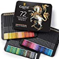 Castle Art Supplies 72 Colored Pencils Set for Adult Coloring Books - New and Improved Premium Artist Soft Series Lead with Vibrant Colors
