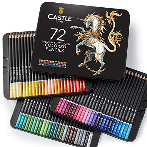 Scatola da 72 matite colorate Castle Art Supplies per libri da colorare per adulti o per il materiale scolastico dei bambini - Serie di matite con mina morbida per artisti dai colori vivaci