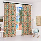 GUUVOR Vintage Noise-Proof Sunshade Curtain Retro Camera Radio TV and Cassette Colorful Illustration Old School Media Devices Waterproof Fabric W42 x L84 Inch Multicolor