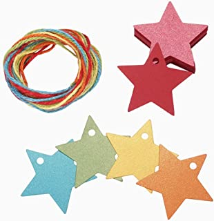 150ct Colorful Paper Gift Wrap Tags with String Star Shape for All Occasion Wedding Favors Kid Christmas Thank You Birthday (Star)
