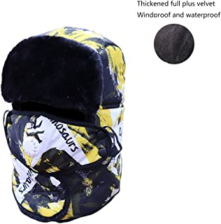 Pusaman Autumn and Winter Warm Cold Cotton Cap, Ms. Ear Windproof Cycling Cap, Plus Thick Velvet Lei Feng Cap (Color : Yellow)