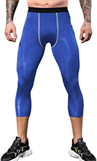 LEICHR Men's 3/4 Compression Pants Leggings,  Cool Dry Sports Baselayer 3/4 Tights,  Workout Running Capris Leggings