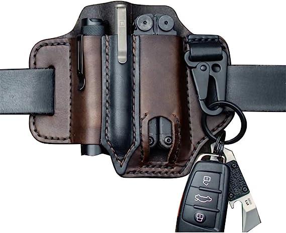 Zhongdawei - Funda de piel para cinturón (funda multiherramienta), diseño de bolsillo Edc, color marrón oscuro