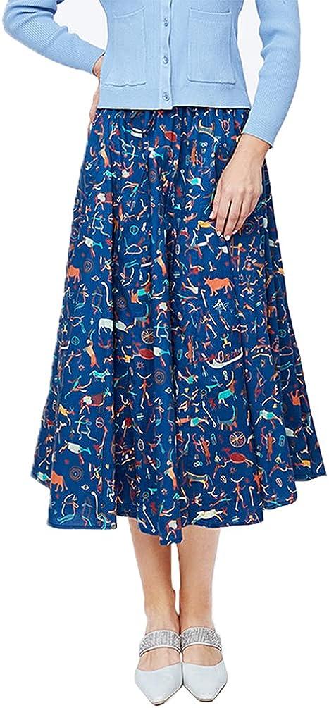 Women's Summer Skirt midi Skirt Pull-on with Elastic Waist Skirt Blue Skirt Swing 13 j183