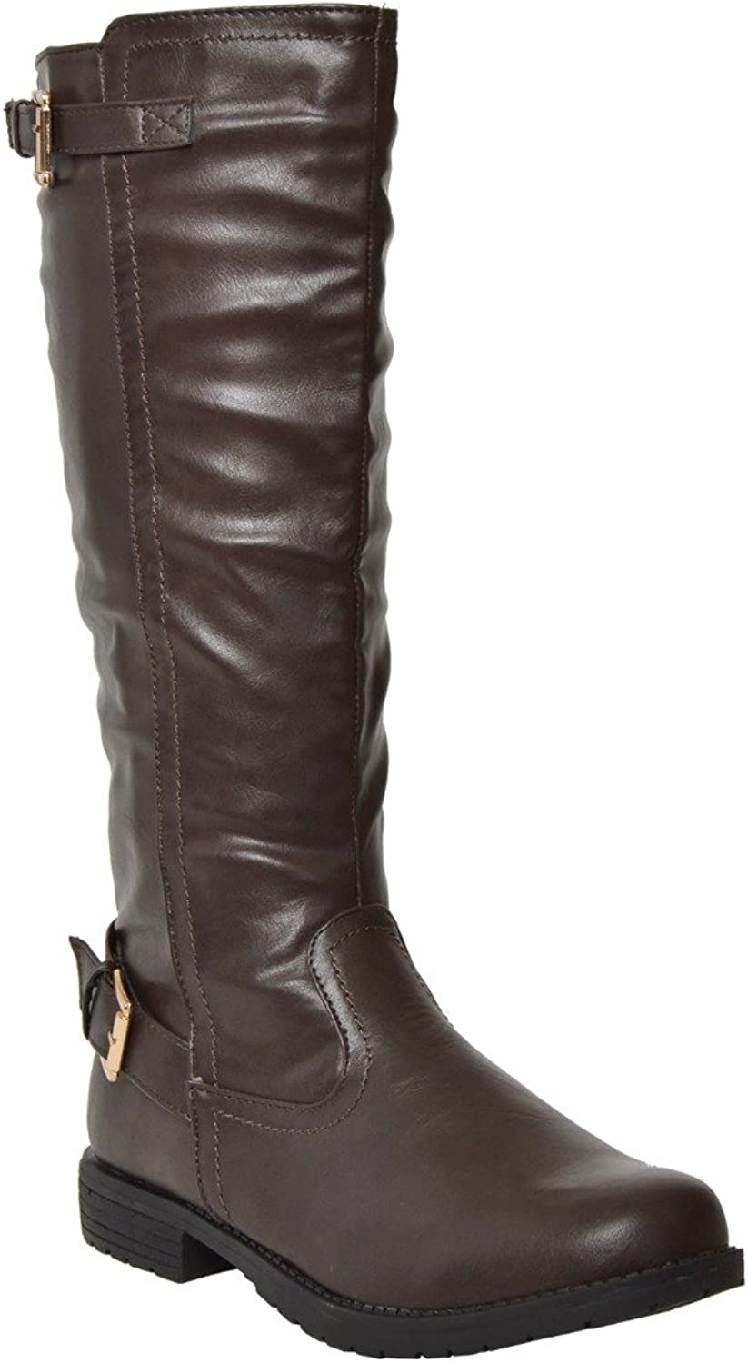 TM By KSC Womens Knee High Boots Casual Riding Western Double Adjustable gold Buckles DKBROWN