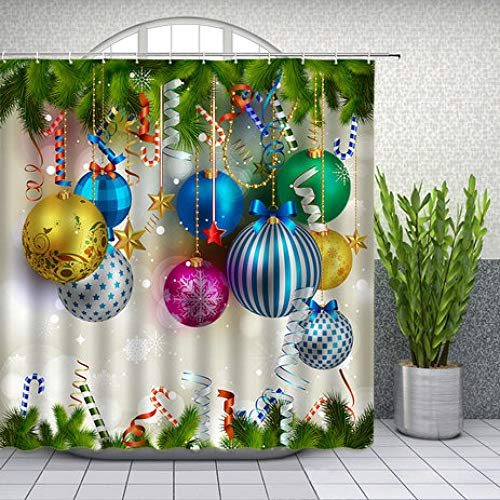 ZZYJKSD Weihnachtsduschvorhang Weihnachten farbiges Dekor Ball Pine Branch Badezimmer Dekor wasserdichte Polyester Stoff Gardinen mit Haken - 180X200CM