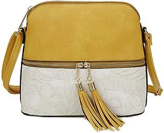 Tassel Cross Body Bag, LeahWard Women's Side Bag With Tassel Charm, Women's PU Leather Floral Handbag Shoulder Bags