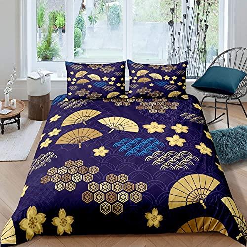 Funda de edredón japonesa con diseño de flores de cerezo, juego de cama plegable japonés, para niños, niñas, mujeres, nubes, Ukiyo-E, con 2 fundas de almohada, tamaño King, color amarillo y azul