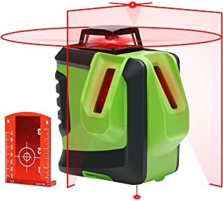 Laser Level Cross-Line Laser with Plumb Dot, Huepar 622CR Red Beam Laser Level - 360-Degree Horizontal and Two Vertical Lines plus Plumb Point, Self-Leveling Alignment Multi Line Laser Tool