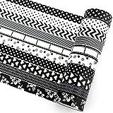 SAVITA 10 Rollos 15 mm Washi Tape Blanco y Negro, Cinta de Enmascarar Decorativa para Niños, Manualidades, Albumes de Recortes (Blanco y Negro)