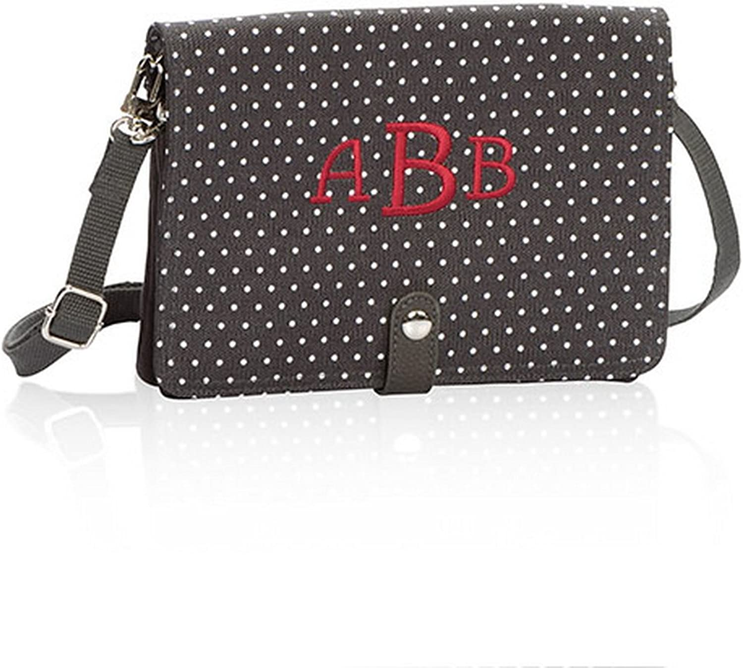 Thirty One Double Up Crossbody in City Charcoal Swiss Dot  No Monogram  6204