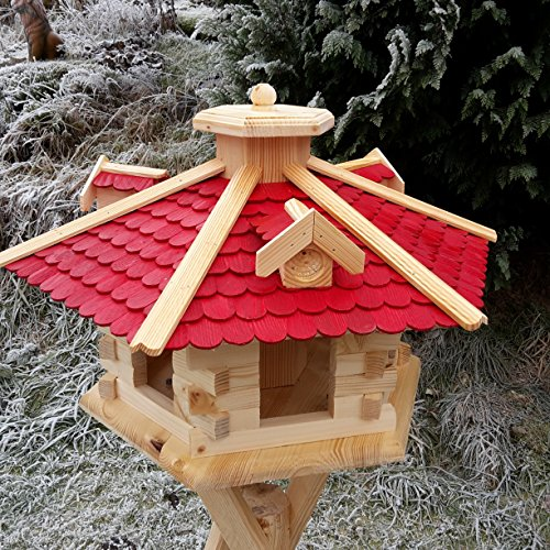 Sehr großes Vogelhaus Vogelhäuser Vogelfutterhaus Vogelhäuschen aus Holz Schreinerarbeit Gaube Rot XXL - 5