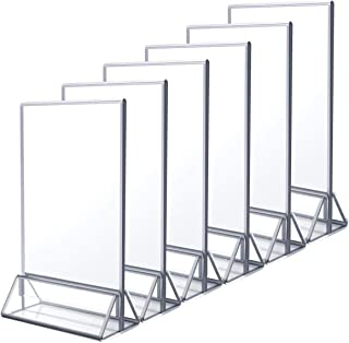 NIUBEE 6Pack 4x6 Clear Acrylic Sign Holder with Sliver Borders and Vertical Stand, Double Sided Table Menu Holders Picture Frames for Wedding Table Numbers, Restaurant Signs, Photos and Art Display