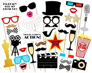 Hollywood Party Photo Booth Props Kit - Hollywood/Oscar/Movie Night Party Supplies Decorations,Pack of 33