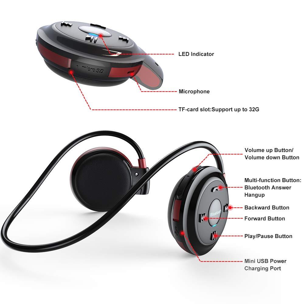 Auriculares Bluetooth Deporte, Estéreo Auricular V4.1 Deportivo Resistente al Sudor, Soporte Tarjeta TF Jugar y Radio FM, Cascos Inalámbricos
