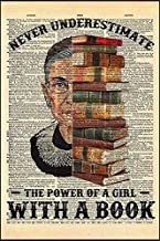 Never Underestimate The Power of A Girl with A Book Poster (Art Wall Canvas Framed Poster, 16x20)