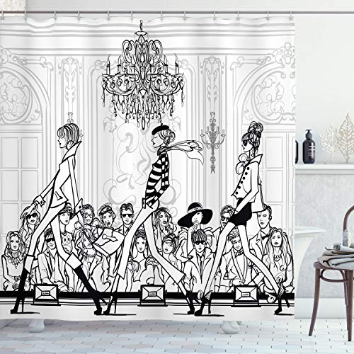 """Ambesonne Fashion Shower Curtain, Fashion Show with Catwalk Mannequins Audience Supermodel Human Crowd Illustration, Cloth Fabric Bathroom Decor Set with Hooks, 70"""" Long, Black White"""