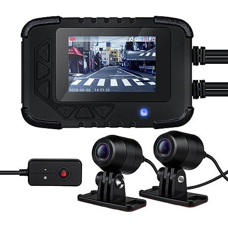 Blueskysea DV688 バイク用 前後2カメラ ドライブレコーダー 2.35インチ 200万画素 1080P 防水 常時録画 ループ録画 Gセンサー 130°広角 日本全国LED信号機対応 オートバイドライブレコーダー 64GB SDカード対応 日本語説明書付(最新版)