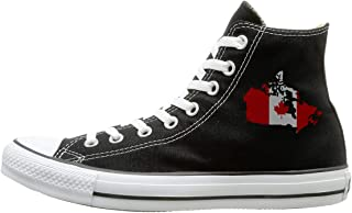 Canvas Shoes Canadian Map With Canada Flag Classics High Top Lace Ups Sneaker For Unisex