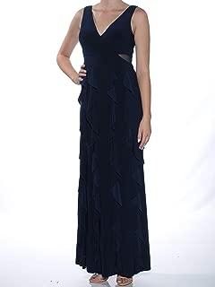 XSCAPE Womens Navy Lace Ruffled Sleeveless V Neck Maxi Fit + Flare Formal Dress US Size: 8