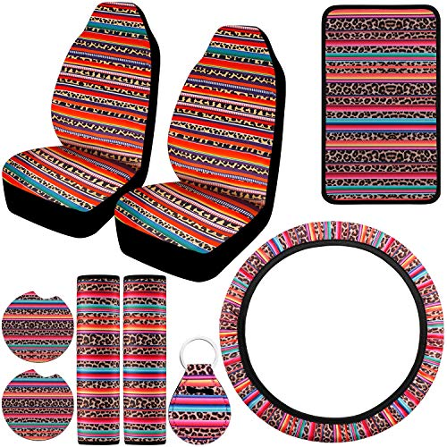 Boao 9 Pieces Steering Wheel Cover Leopard, Front Seat Cover, Steering Wheel Cover, Center Console Armrest Pad, Car Shoulder Pads, Car Coasters and Keychain Holder for Car Colorado