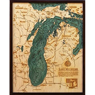 Lake Michigan 3-D Nautical Wood Chart, 24.5  x 31